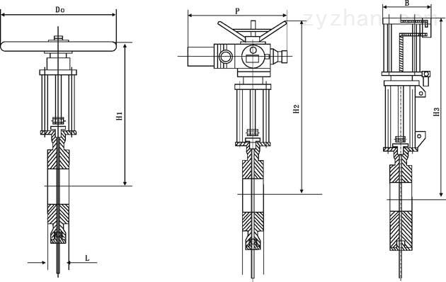 SCZ673X/SCZ673F型穿透式插板阀外形尺寸图